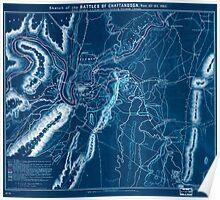 Civil War Maps 1648 Sketch of the battles of Chattanooga Nov 23-26 1863 Inverted Poster