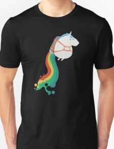 Funny Fat Unicorn on Rainbow Jetpack T-Shirt T-Shirt