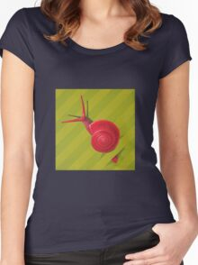 Snail in the grass - acrylic painting Women's Fitted Scoop T-Shirt