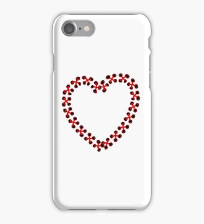Red Heart embroidered iPhone Case/Skin