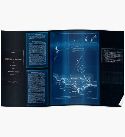 Civil War Maps 2085 Map of the defeat of the Confederate ship Alabama by the US steamer Kearsarge on June 19 1864 off Cherbourg France Inverted Poster