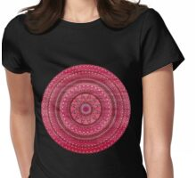 Hand Drawn Intricate Deep Red And White Mandala Womens Fitted T-Shirt