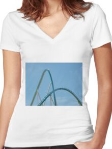 Fury 325 at Carowinds Roller Coaster Women's Fitted V-Neck T-Shirt