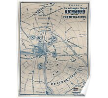 Civil War Maps 0381 Forbes' new and complete map of Richmond and its fortifications Poster