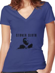 Stoner Sloth monochrome Women's Fitted V-Neck T-Shirt