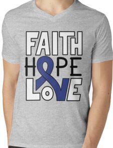 Faith Hope Love - Colon Cancer Awareness Mens V-Neck T-Shirt