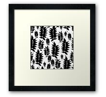 Black and white botanic pattern with leaves and plants Framed Print