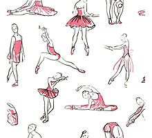ballerina standing in a pose seamless pattern Photographic Print