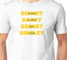 Characters First and Last Names from Pride and Prejudice  Unisex T-Shirt