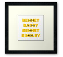 Characters First and Last Names from Pride and Prejudice  Framed Print