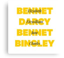 Characters First and Last Names from Pride and Prejudice  Canvas Print