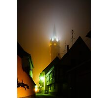 Old medieval church night view, foggy weather, France Photographic Print