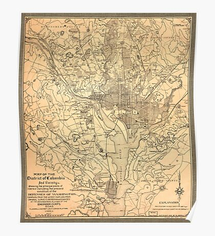 Map of the District of Columbia (1892) Poster