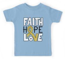 Faith Hope Love - Childhood Cancer Awareness Kids Tee