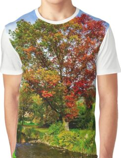 Vivid colors of autumnal nature, red oak on the river, french countryside Graphic T-Shirt