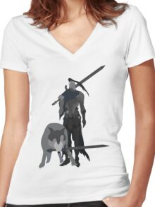 Knight Artorias and the grey wolf Sif Women's Fitted V-Neck T-Shirt