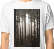 Beautiful pinetrees in the foggy forest, french nature, autumn Classic T-Shirt