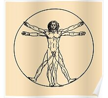Vitruvian man vector drawing Poster