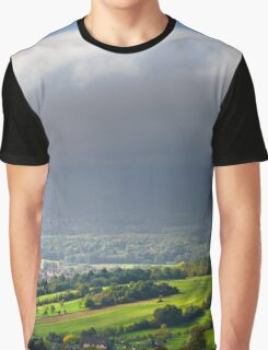 Big white cloud over the beautiful green valley, Alsace, France Graphic T-Shirt