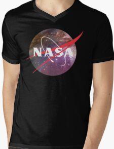 NASA NEBULA LOGO Mens V-Neck T-Shirt