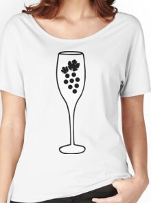 Wine Glass and Grapes Women's Relaxed Fit T-Shirt