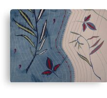 Willow and Clematis Leaves. Print of embroidered textile. Canvas Print