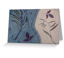 Willow and Clematis Leaves. Print of embroidered textile. Greeting Card