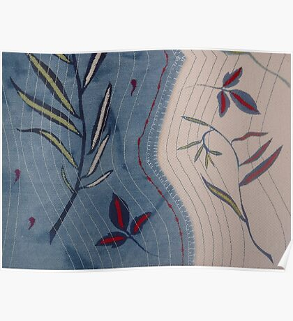 Willow and Clematis Leaves. Print of embroidered textile by Jackie Wills Poster