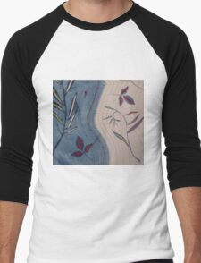 Willow and Clematis Leaves. Print of embroidered textile. Men's Baseball ¾ T-Shirt