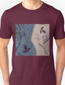 Willow and Clematis Leaves. Print of embroidered textile. Unisex T-Shirt