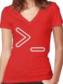 Shell Prompt >_ Indicated with greater than and underscore signs Women's Fitted V-Neck T-Shirt