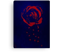 Red Rose on Blue Canvas Print