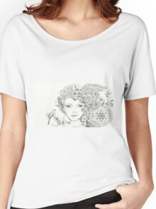 Shamanic Girl With Blossoms, Mandala And Birds Women's Relaxed Fit T-Shirt