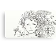 Shamanic Girl With Blossoms, Mandala And Birds Canvas Print