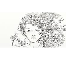 Shamanic Girl With Blossoms, Mandala And Birds Photographic Print