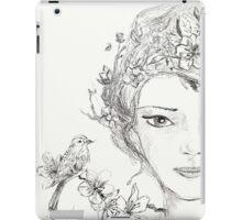 Shamanic Girl With Blossoms, Mandala And Birds iPad Case/Skin