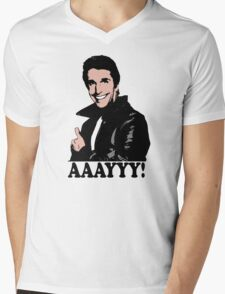 The Fonz Happy Days Aaayyy! T-Shirt Mens V-Neck T-Shirt