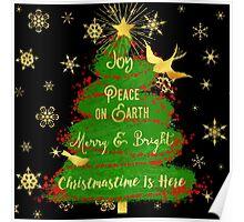 Christmas Tree, Joy, Peace on Earth, text art Poster