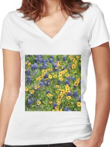 Texas Wildflower Mix #3 Women's Fitted V-Neck T-Shirt