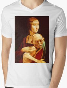 Lady with Gollum Mens V-Neck T-Shirt