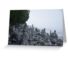 Rock Stacks in Cave Point Park Greeting Card