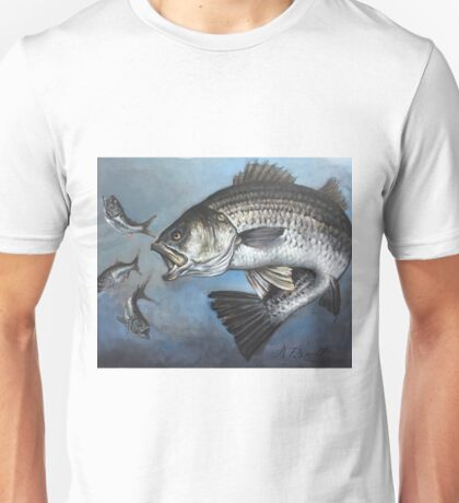 Striped Bass Chasing Bunker Unisex T-Shirt