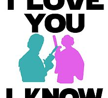 Star Wars Han Solo and Princess Leia 'I love You, I Know' design by craftdemic