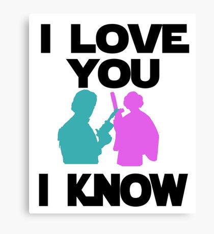 Star Wars Han Solo and Princess Leia 'I love You, I Know' design Canvas Print