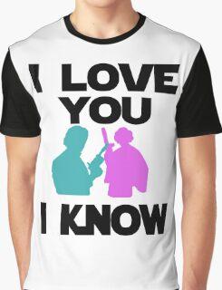 Star Wars Han Solo and Princess Leia 'I love You, I Know' design Graphic T-Shirt