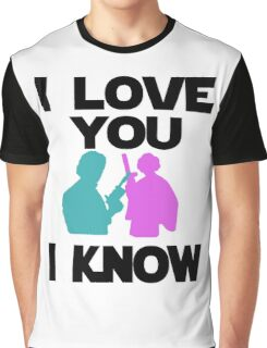 Star Wars Han Solo and Princess Leia 'I love You, I Know' design Graphic T-Shirt