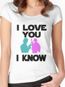 Star Wars Han Solo and Princess Leia 'I love You, I Know' design Women's Fitted Scoop T-Shirt