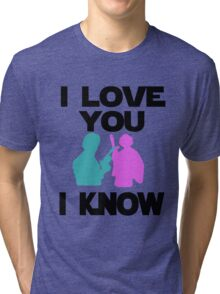 Star Wars Han Solo and Princess Leia 'I love You, I Know' design Tri-blend T-Shirt