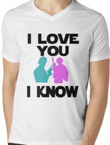 Star Wars Han Solo and Princess Leia 'I love You, I Know' design Mens V-Neck T-Shirt