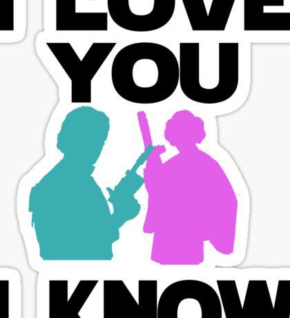 Star Wars Han Solo and Princess Leia 'I love You, I Know' design Sticker